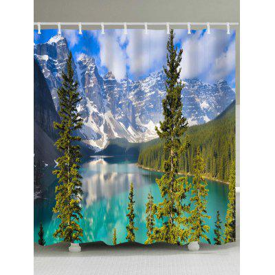 Snow Mountain Lake Print Wasserdichter Duschvorhang