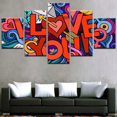 Valentine's Day I Love You Printed Split Unframed Canvas Paintings