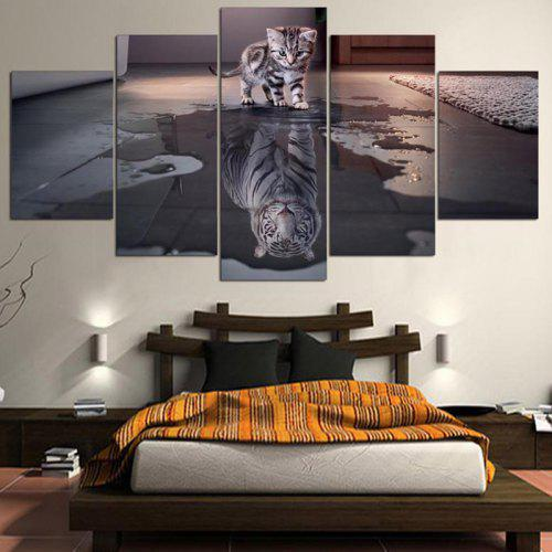 Cat and Tiger Print Split Unframed Canvas Paintings