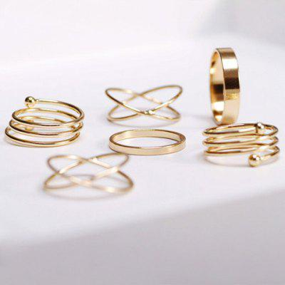 Simple Circle Cuff Finger Ring Set