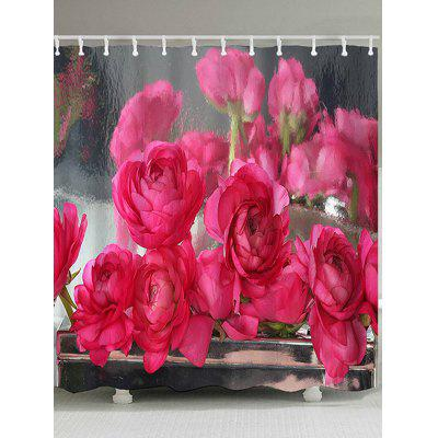Blooming Flower Printed Waterproof Shower Curtain