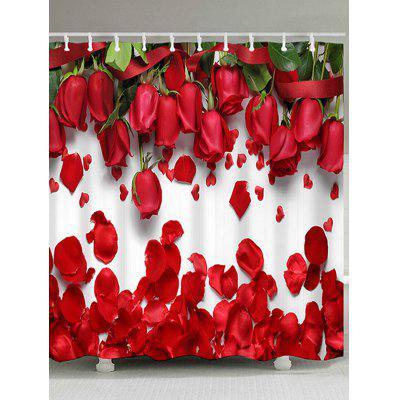 Dia dos Namorados Home Decor Red Rose Waterproof Shower Curtain