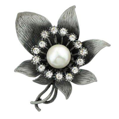 Faux Gem Diamond Flower Brooch
