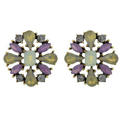 Faux Crystal Inlay Floral Shape Stud Earrings