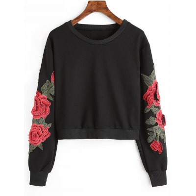 Crop Flower Patched Sweatshirt