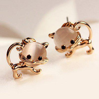 Cute Faux Opal Kitten Tiny Stud Earrings