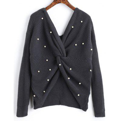 Twist Pearly V Neck Sweater