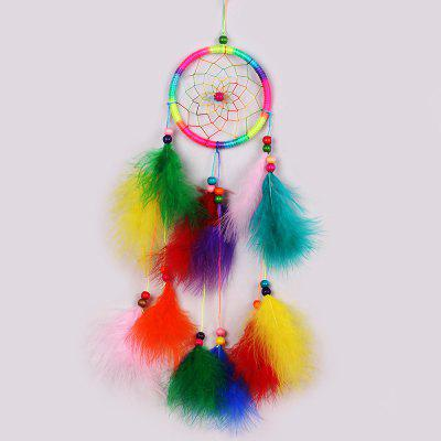 Handmade Feathers Fringed Dream Catcher Wall Hanging