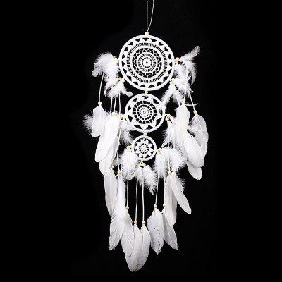 White Crochet with Swan Feathers Hanging Ornament Dreamcatcher