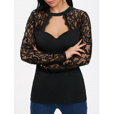 Long Sleeve Lace Panel Cut Out T-shirt