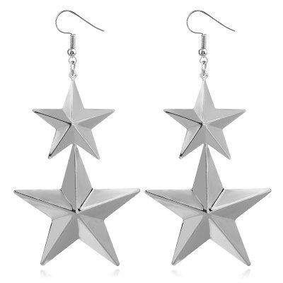 Alloy Star Layered Hook Earrings