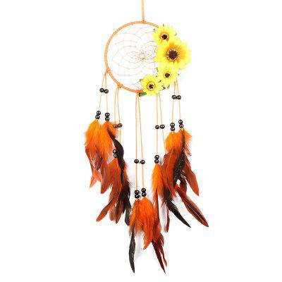 Sunflower Feather Bead Hanging Handmade Dreamcatcher