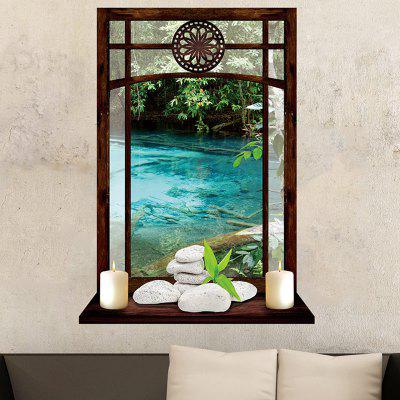 Vintage Window and Candles River Printed Wall Art Sticker