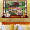 Chinese Architecture Scenery Printed Wall Sticker - COLORFUL