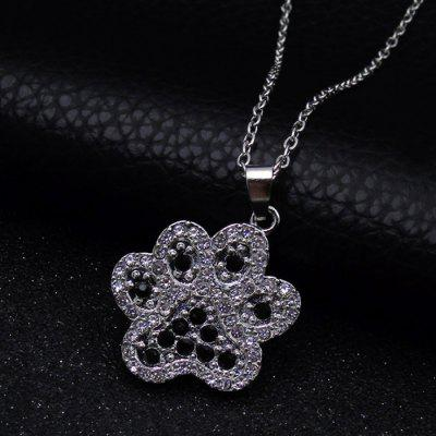 Studded Rhinestone Puppy Paw Pendant Chain Necklace