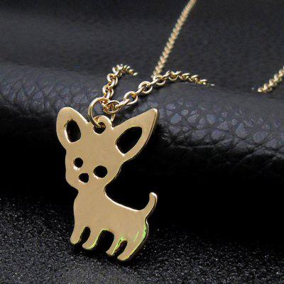 Metal Puppy Pendant Chain Necklace