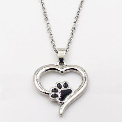 Puppy Kitty Paw Heart Pendant Necklace