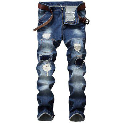 Patched Straight Leg Jeans