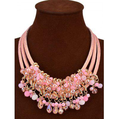 Faux Crystal Beaded Teardrop Multilayered Necklace