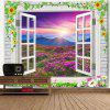Window Scenery Flower Mountain Print Wall Art Tapestry - COLORMIX