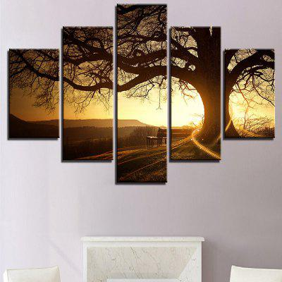 Twilight and Bare Tree Pattern Wall Art Canvas Paintings