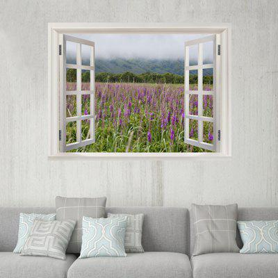 Window Lavender 3D Pattern Wall Sticker para sala de estar