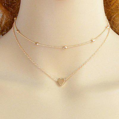 Two Piece Layered Heart Collarbone Necklace Set