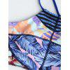 Cross Back High Neck Print Bikini Set - COLORMIX