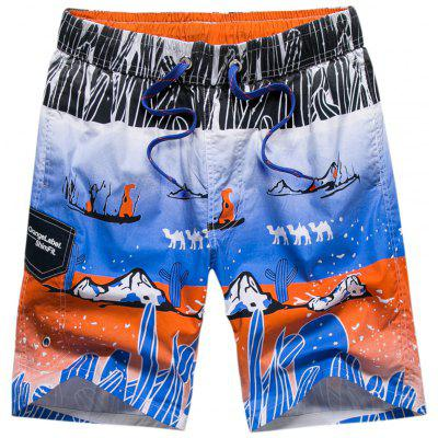 Cartoon Printed Surfing Beach Short