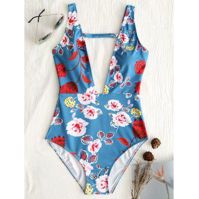 Floral Plunge Neck One Piece Swimsuit