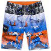 Cartoon Printed Surfing Beach Short - BLUE