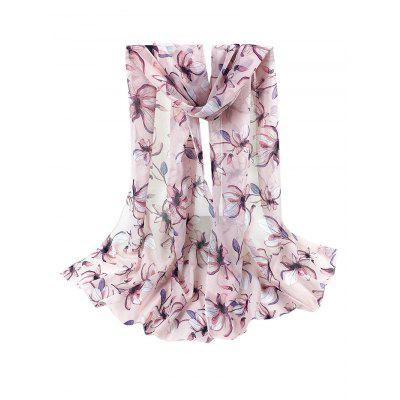 Vintage Lily Pattern Printed Silky Chiffon Long Scarf