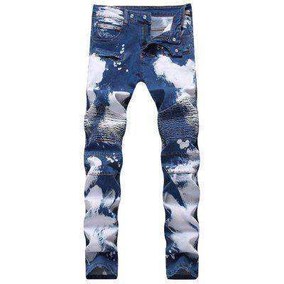 Slim Fit Tie Dyed Biker Jeans