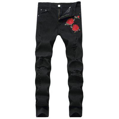 Straight Leg Floral Embroidery Ripped Jeans