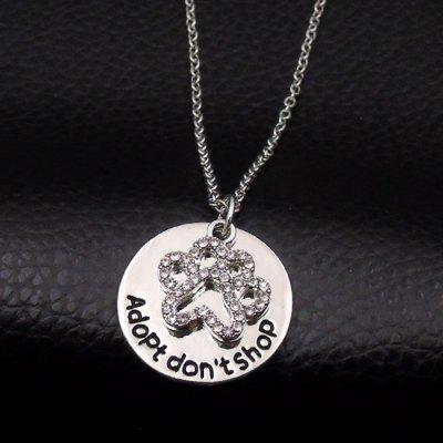 Cute Rhinestone Claw Disc Pendant Necklace