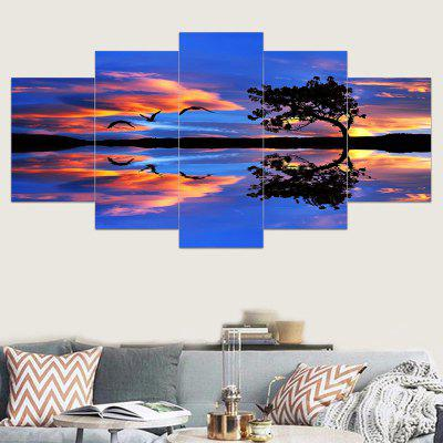 Lakeside Sunset Glow Wild Geese Impressed Canvas Paintings