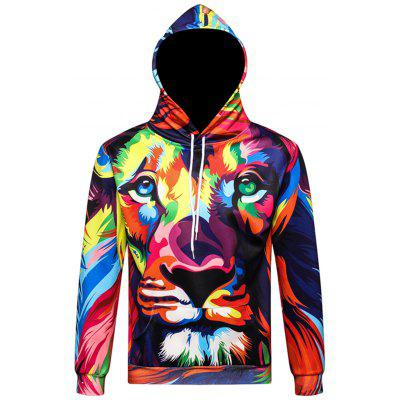 3D Color Block Lion Print Pullover Hoodie