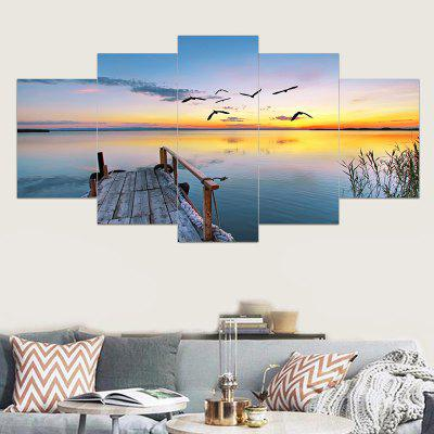 Wood Bridge Lake Sunset Landscape Print Canvas Paintings