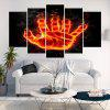 Flame Palm Printed Unframed Canvas Wall Art Printings - FLAME RED
