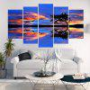 Lakeside Sunset Glow Wild Geese Printed Canvas Paintings - BLUE