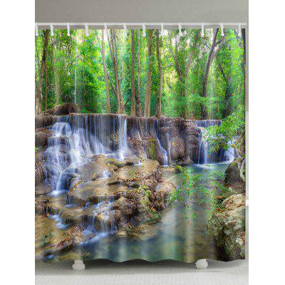 Forest Stream Print Waterproof Shower Curtain