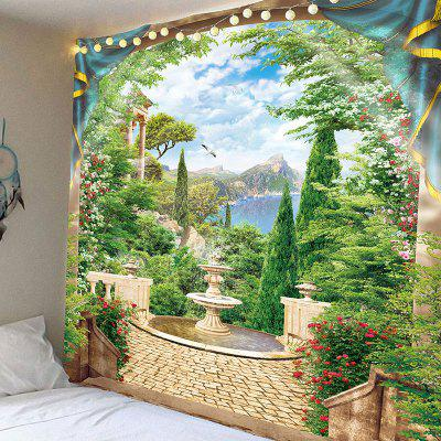 Window Outside Mountains Landscape Printed Wall Art Tapestry