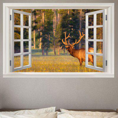 Window Elk Landscape Print Removable Wall Sticker