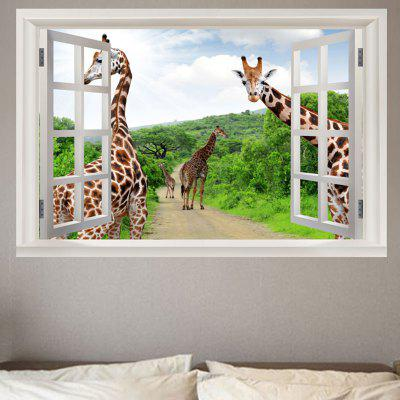 Forest Pathway Giraffes Printed Wall Sticker