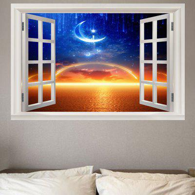 Sea Sunset Starry Moon Printed Wall Sticker