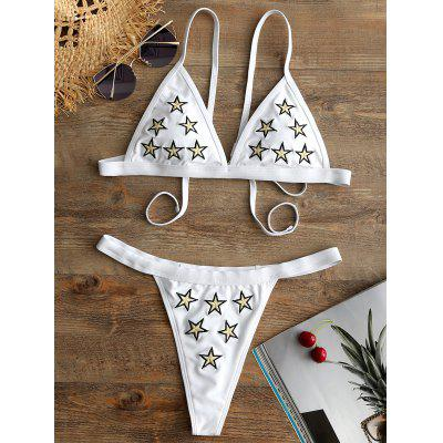 Star Embroidered String Bikini Set