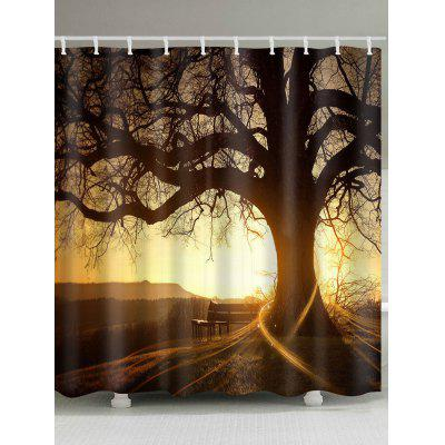 Big Tree Silhouette Waterproof Shower Curtain