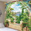 Window Outside Mountains Landscape Printed Wall Art Tapestry - GREEN