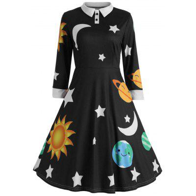 Flare Vintage Sun and Moon Print Dress
