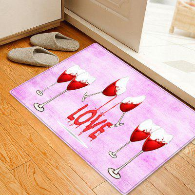 Valentine's Day Heart Wine Pattern Indoor Outdoor Area Rug